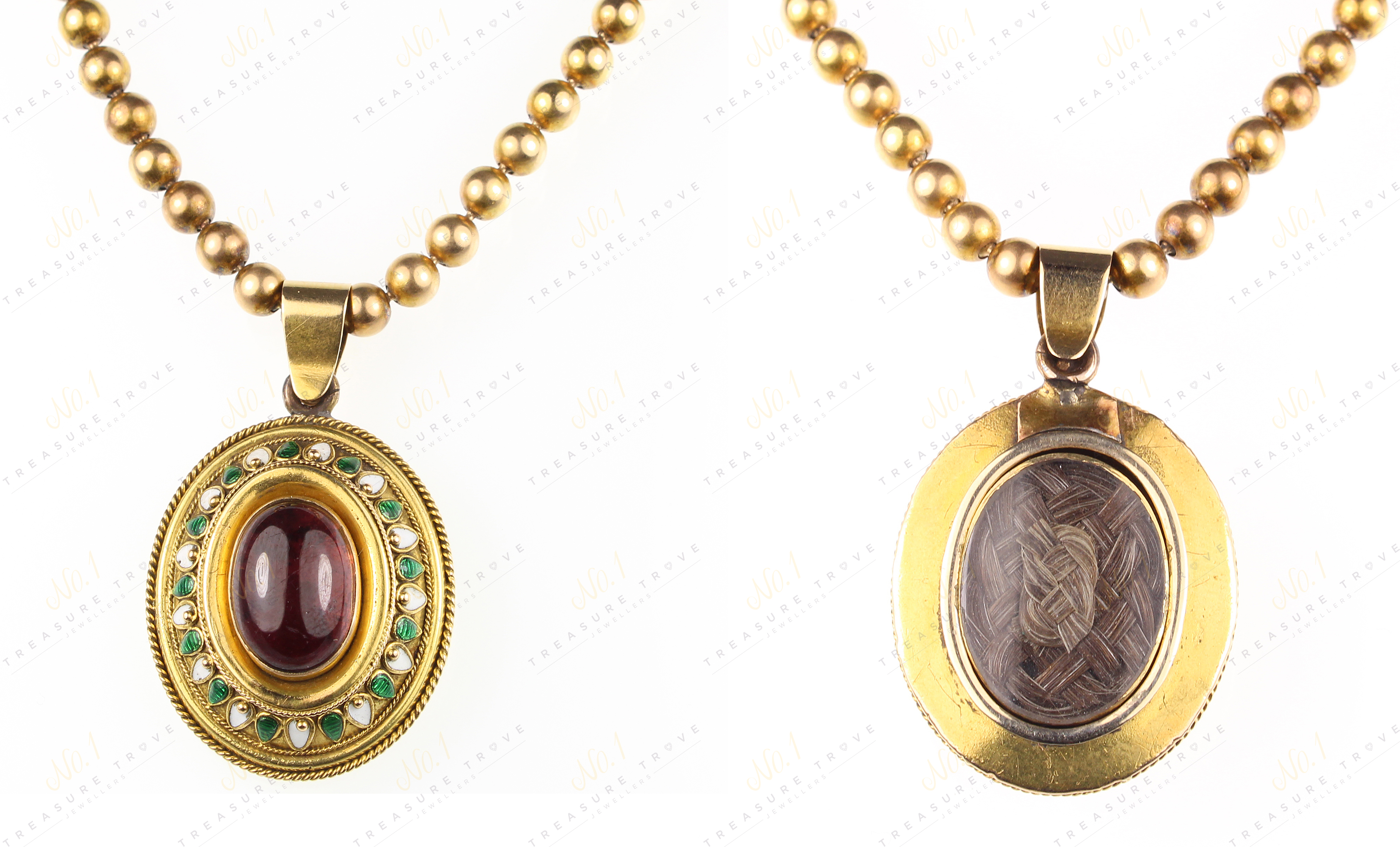 Victorian C.1880 Garnet & Enamel Pendant