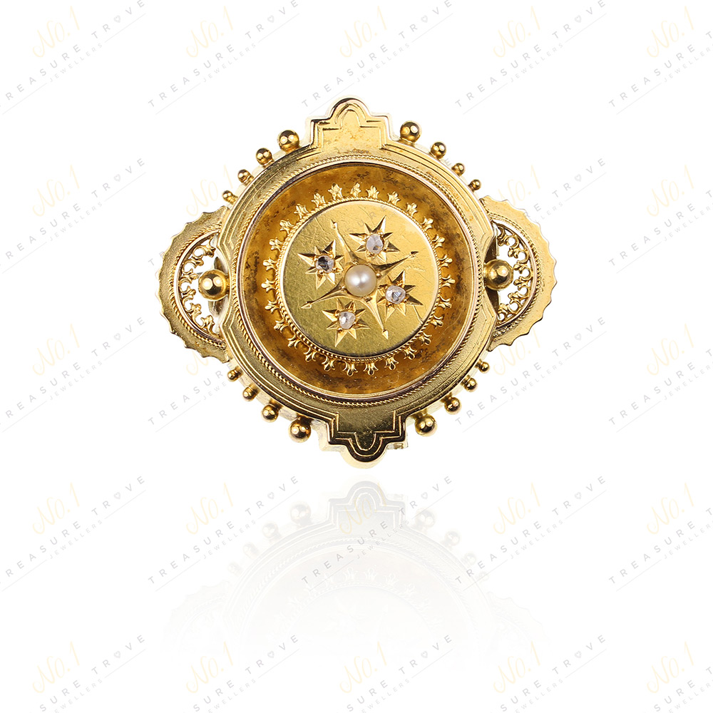 Victorian 15ct Gold & Diamond & Pearl Brooch