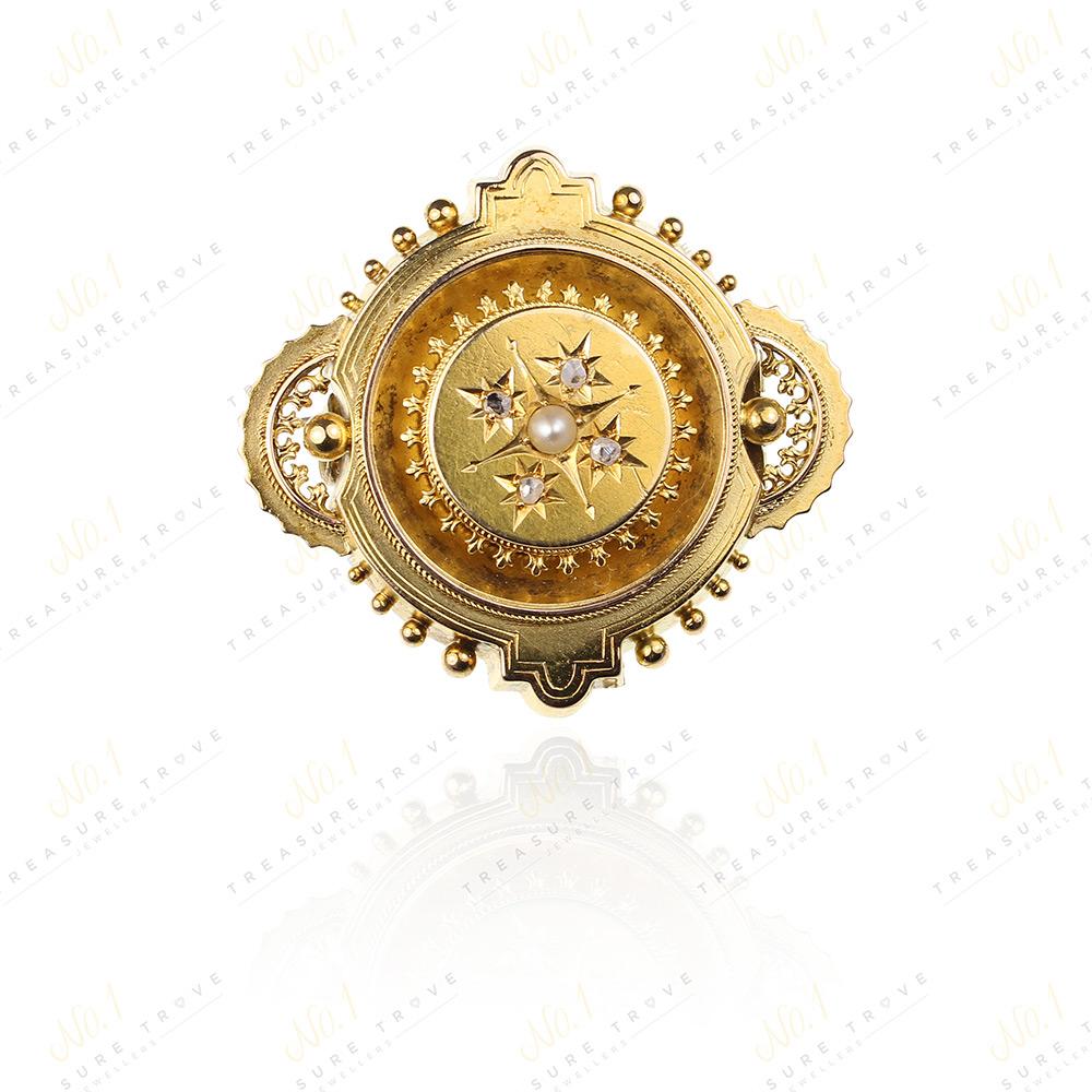 Victorian 15ct Gold & Diamond & Pearl Brooch