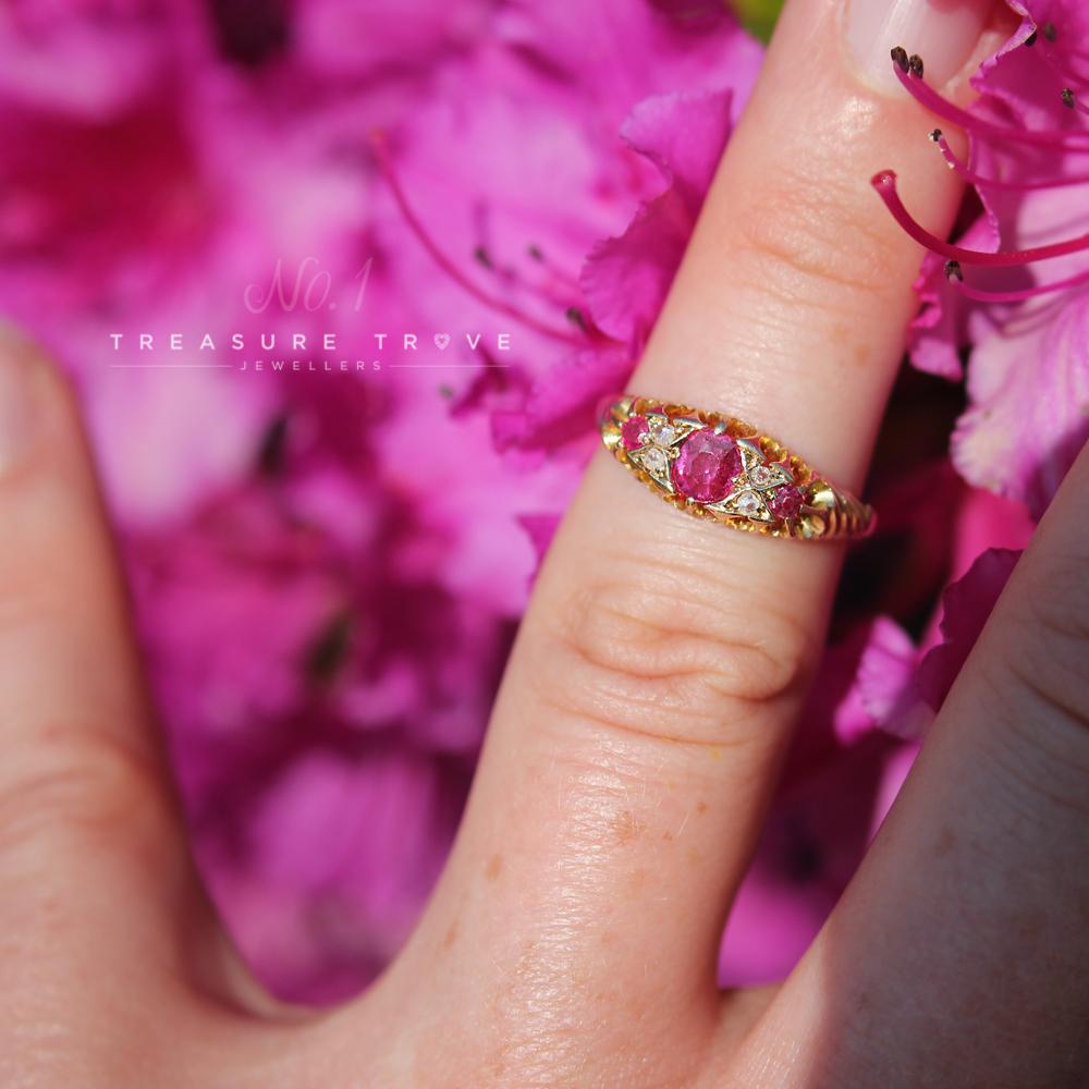 Victorian Chester 1896 18ct Ruby & Diamond Ring – Treasure Trove